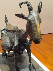 Bronze She-Goat, 1950, who usually lives outside in MoMA's garden.