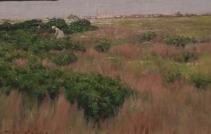 Chase's 1886 oil, Landscape, Near Coney Island