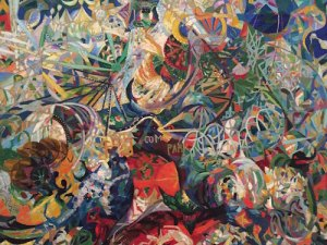 Detail of Joseph Stella's 1913-1914 Battle of Lights, Coney Island, Mardi Gras from Yale University.