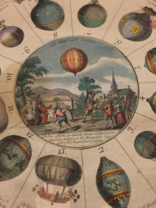 Detail of The New Game of Aerostatic Balloons, a 1784 French hand-colored engraving depicting the early history of ballooning