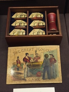 Game pieces for The Game of the Great Blockade, produced in 1863 London about the British ships that were helping the Confederacy by running through the Union blockade during the Civil War