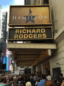 Lin's Ham 4 Ham reading outside the theater during the preview lottery