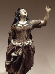 Feisty figurehead from the shipwrecked clipper ship Rosa Isabella, carved in Hamburg in 1865