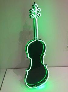 1989 Neon Cello sculpture by Charlotte Moorman