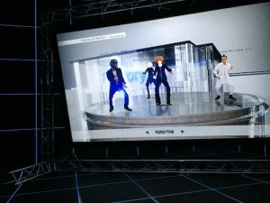 Steyerl's 2015 immersion room showing Factory of the Sun, where avatars mimic YouTube dancers