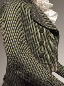 French 1790s tailcoat with ombré silk satin stripes, typical of young men's post-revolutionary fashion