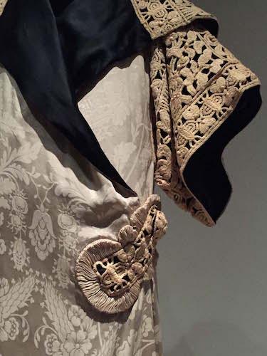 Poiret's 1911 kimono-inspired draped silk damask opera coat embellished with silk cord