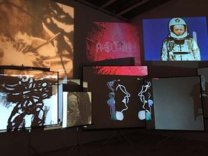 Vanderbeek's 1963 Movie Mural screens flashing with abstract and pop images