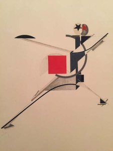 """El Lissitzky 1923 litho honoring the 1920 restaging of the Cubo-Futurist opera """"Victory Over the Sun"""""""
