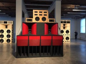 Mark Leckey's 2001-2001 Sound System sculptures, which communicate all on their own
